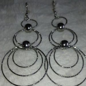 Jewelry - Three Layered Silver Ringed Earrings